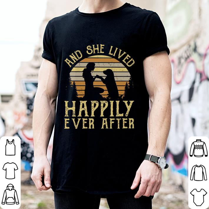 Sunset Retro Style Girl and her dog She lived happily ever after shirt