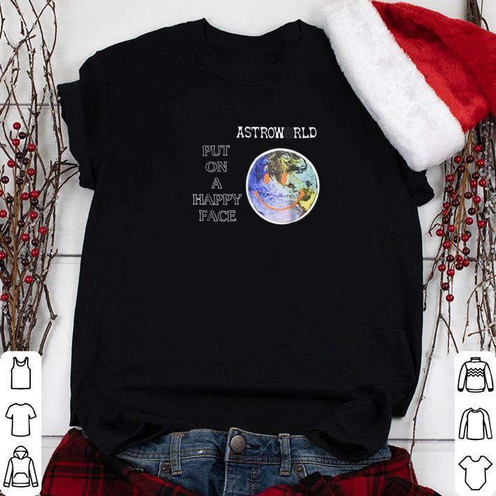 Clickbuypro Unisex Tshirt Travis Scott Astroworld Put On A Happy Face Shirt Sweater Blue L