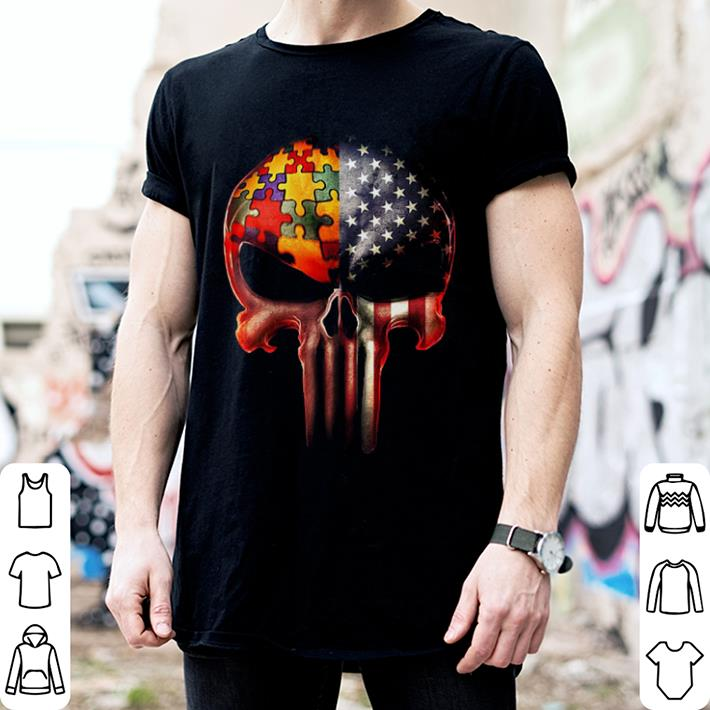 Autism Awareness America Flag skull shirt