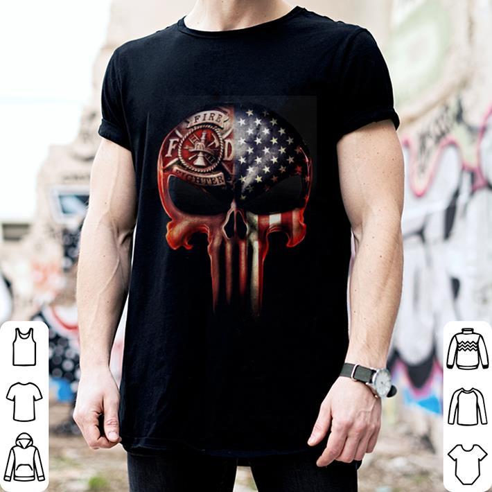 Firefighter America flag skull shirt