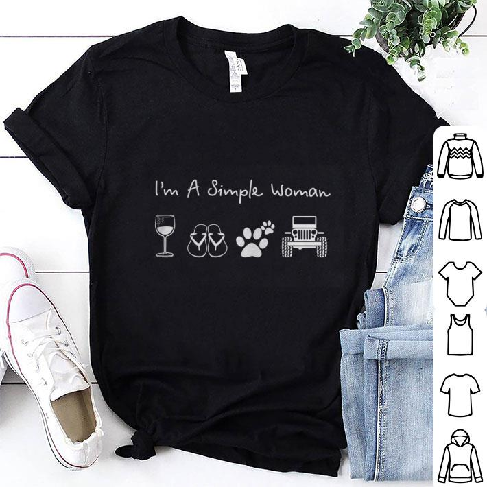 I'm a simple woman glass wine flip flop dog paw jeep shirt