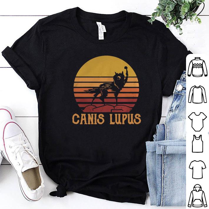 Wolf Canis lupus sunset retro shirt