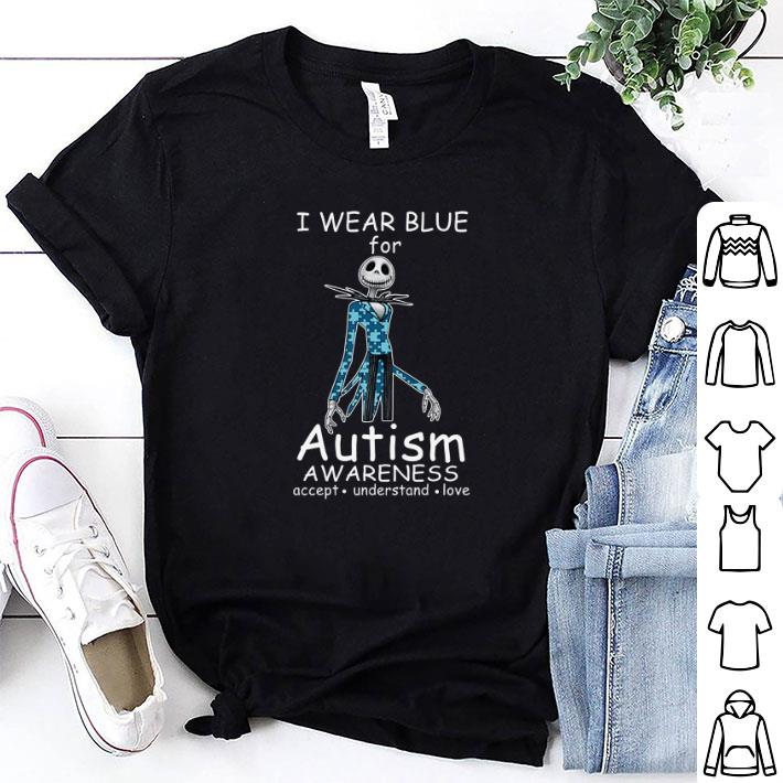 Jack skellington I wear blue for autism awareness shirt