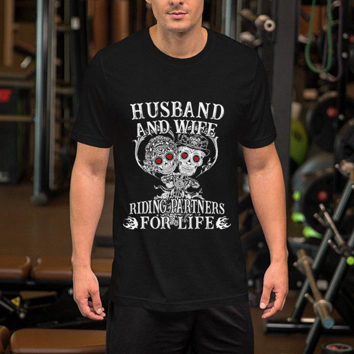 Biker husband and wife riding partners for life shirt 2