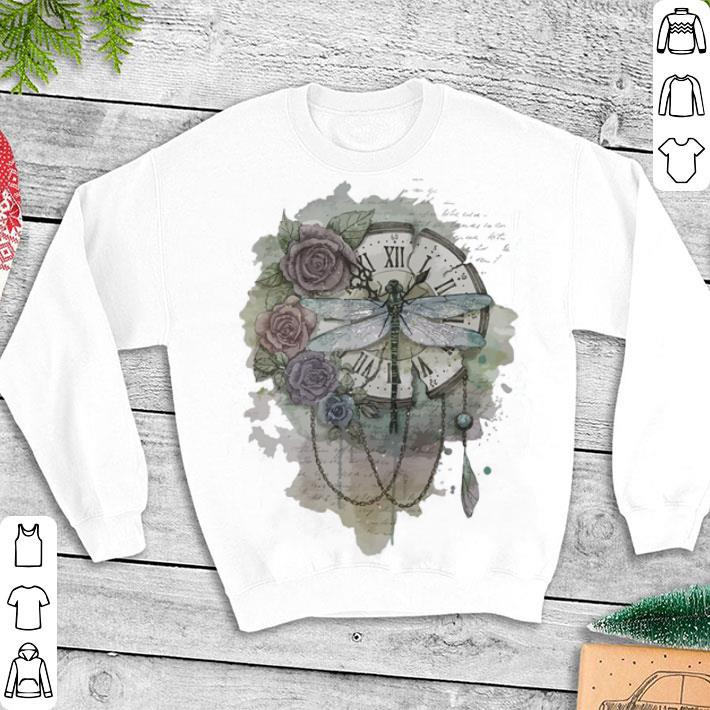 Dragonfly clock hand floral shirt