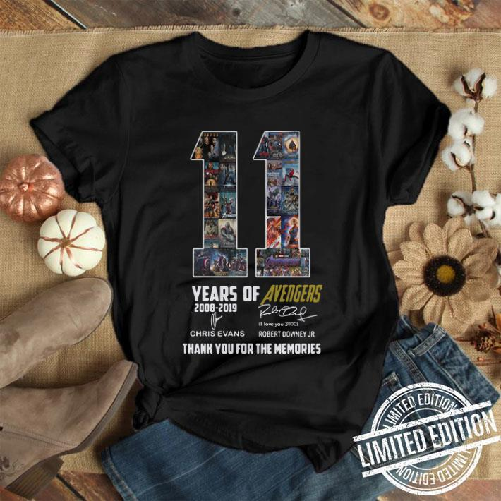 11 years of Avengers signatures thank you for the memories shirt