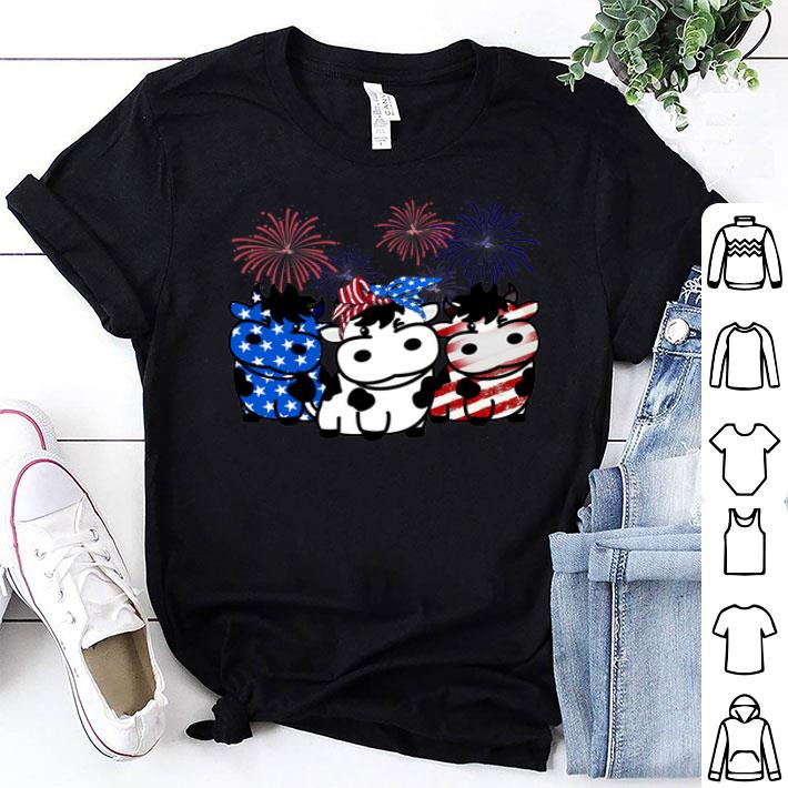 Cow Red white and blue America flag shirt