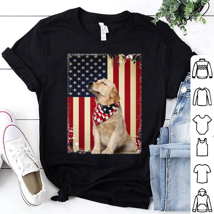 Golden Retriever American Flag july 4th independence day shirt
