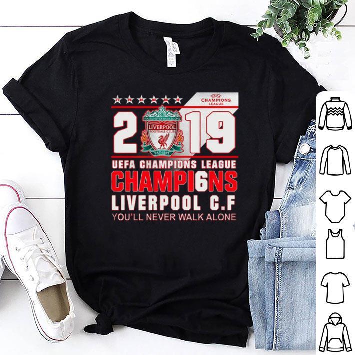 2019 UEFA Champi6ns League Liverpool FC you'll never walk alone shirt
