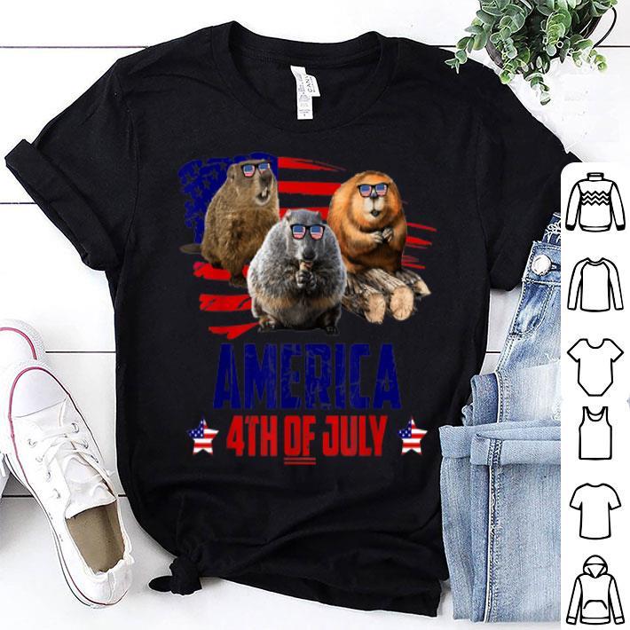 Beaver Patriotic America 4th Of July Usa Flag shirt