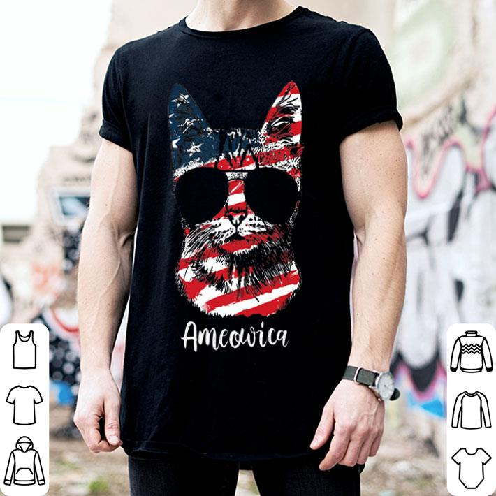 Cat Ameowica 4th of July Independence Day American flag shirt