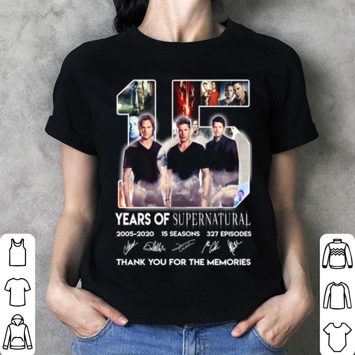 15 years of Supernatural 2005-2020 15 seasons signatures 327 ep shirt