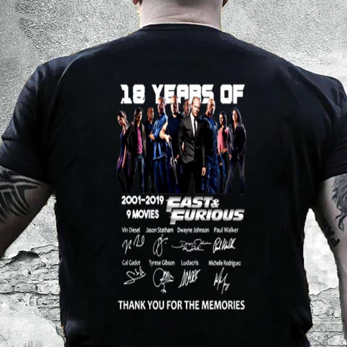 18 year of Fast & Furious 2001-2019 9 movies signatures shirt