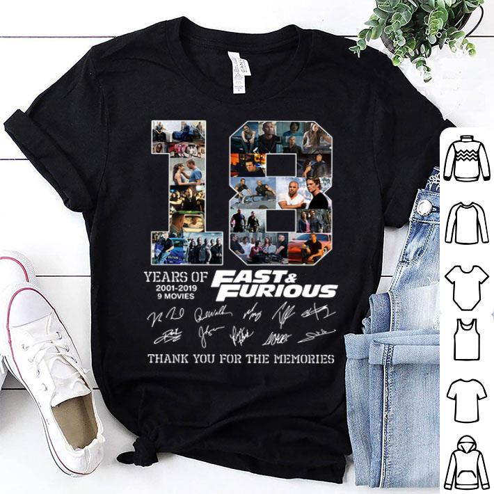 18 years of Fast & Furious signatures thank you for the memories shirt