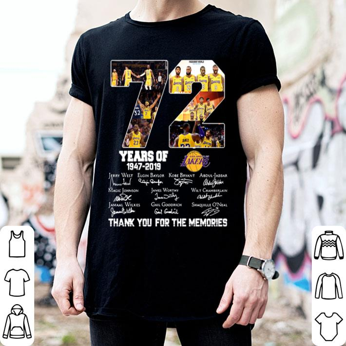 72 years of Los Angeles Lakers 1947-2019 signatures shirt