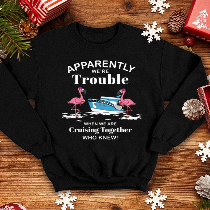 Apparently we're trouble when we are cruising together who knew flamingos shirt