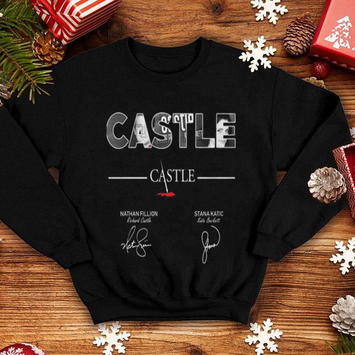 Castle Nathan Fillion Stana Katic signatures shirt
