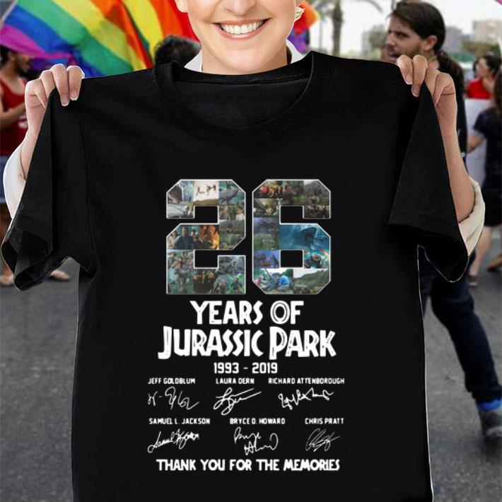 26 Years Of Jurassic Park 1993-2019 Thank You For The Memories shirt