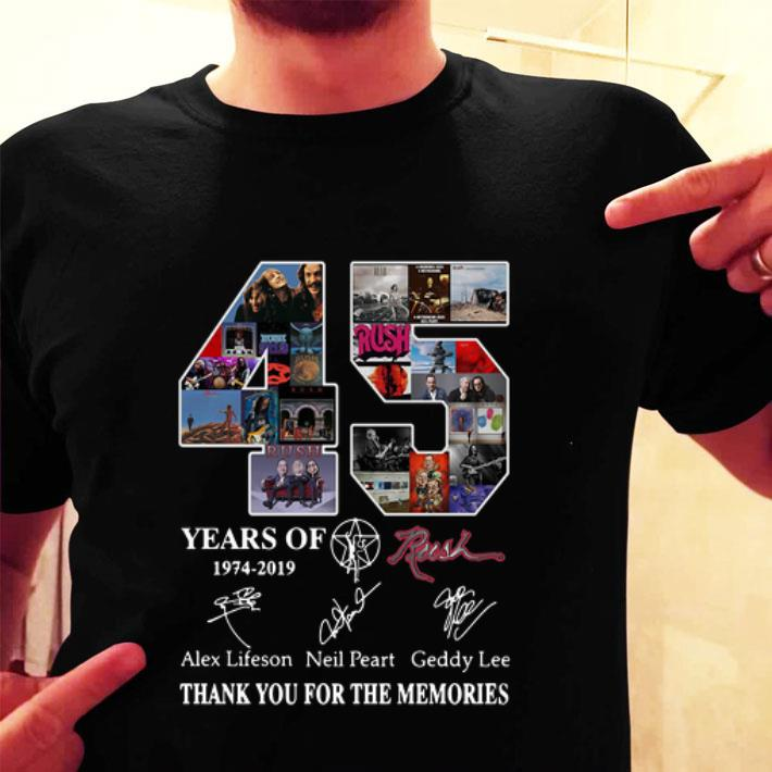 45 Years of Rush 1974-2019 signature thank you for the memories shirt