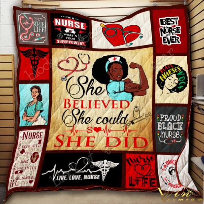 Black nurse she believed she could so she did quilt blanket