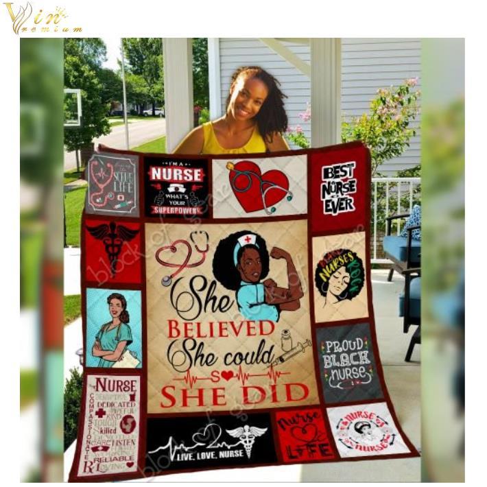 Black nurse she believed she could so she did quilt blanket