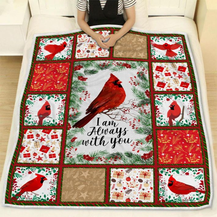 Cardinal Bird i am always with you quilt blanket