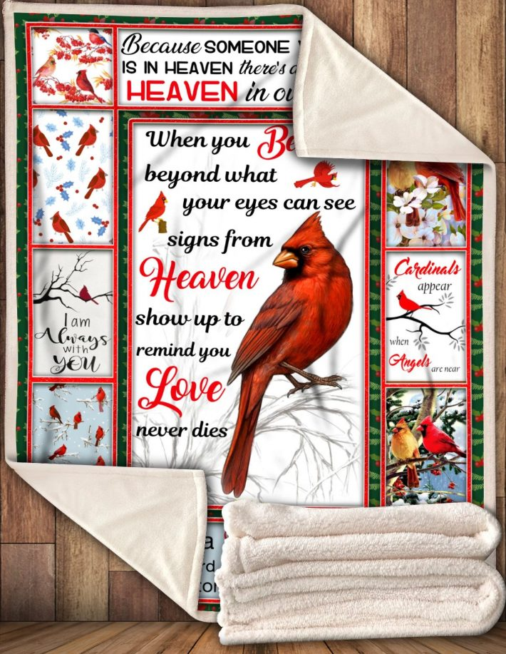 Cardinals when you believe beyond what your eyes can see quilt blanket