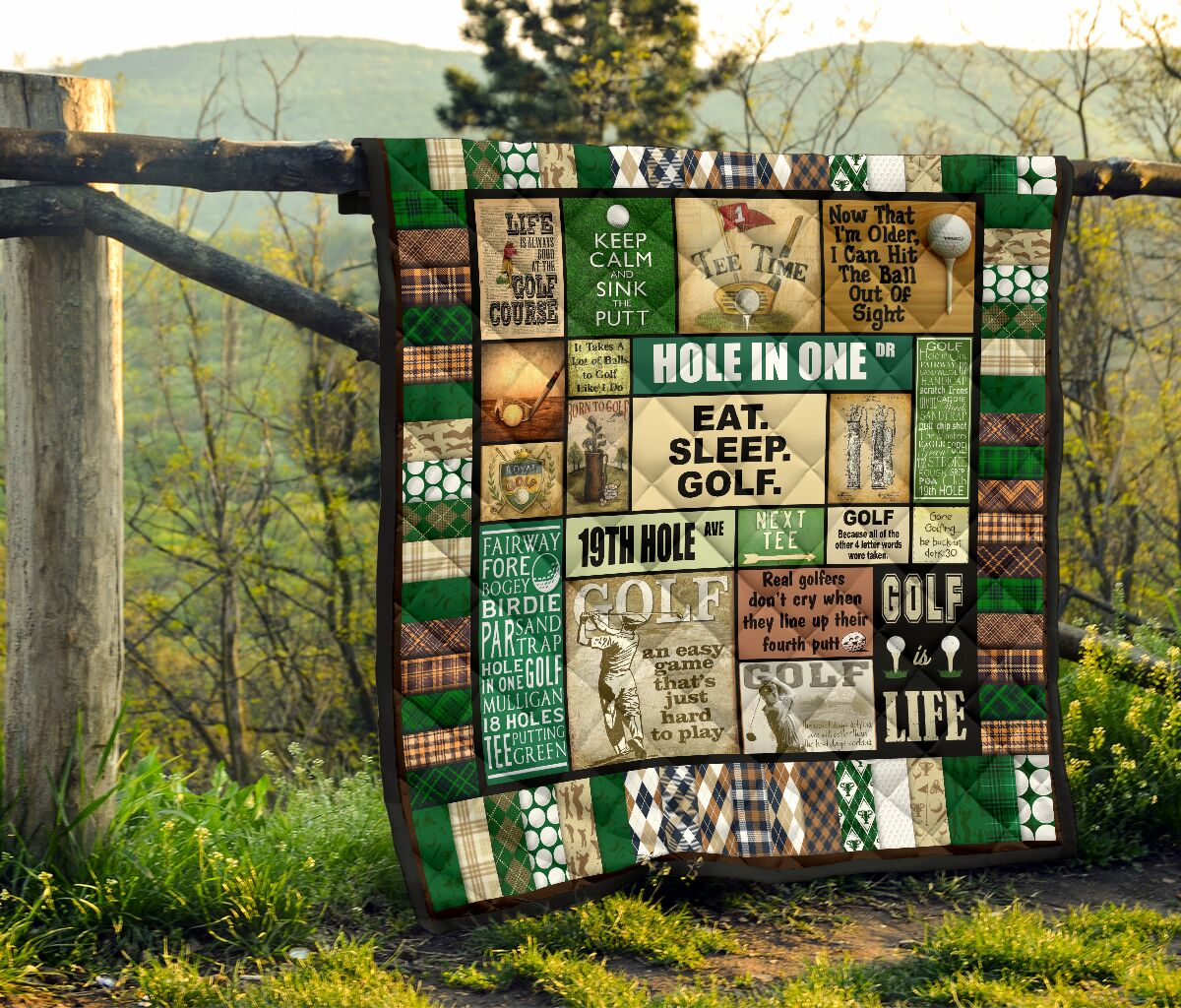 Golf pattern vintage quilt blanket