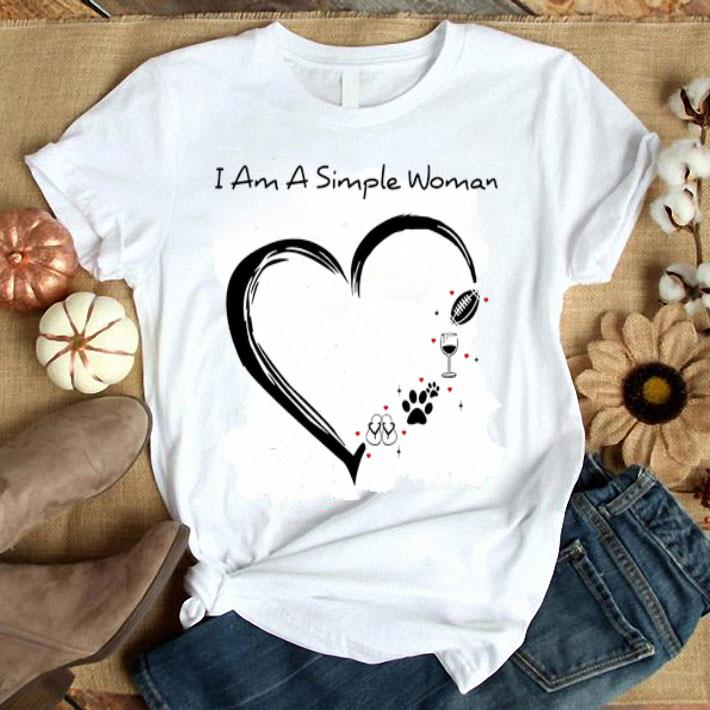 I am a simple woman flip flop paw dog wine glass rugby ball shirt