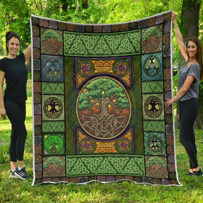 Irish tree celtic quilt blanket