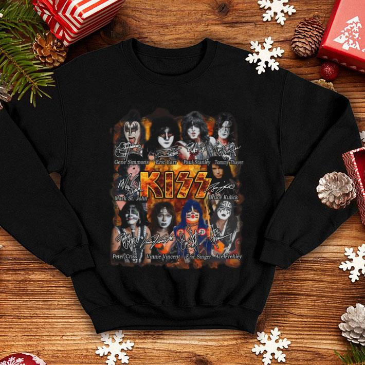 Kiss band Paul Stanley Eric Singer Tommy Thayer signatures shirt