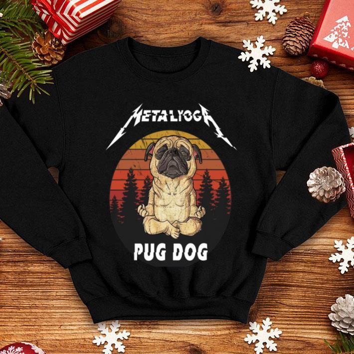 Metallica Metalyoga pug dog sunset shirt