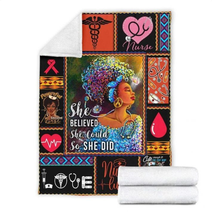 Nurse she believed she could so she did quilt blanket