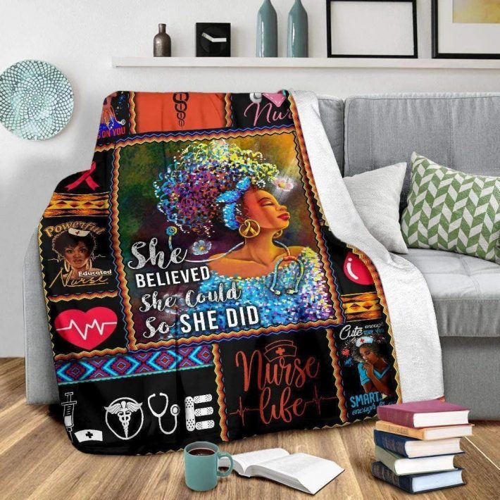 Nurse she believed she could so she did quilt blanket 1