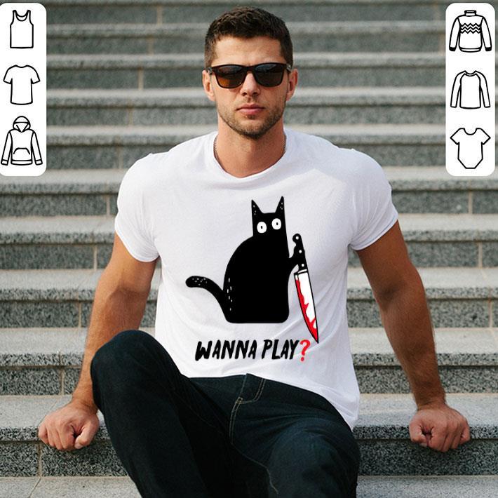 Black cat wanna play shirt