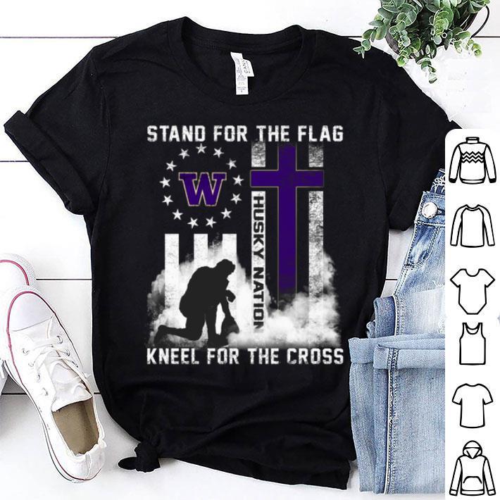 Stand for the flag Washington Huskies Nation kneel for the cross shirt