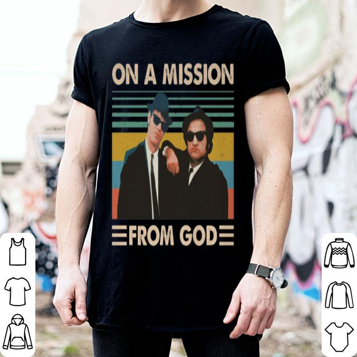 On A Mission From God Vintage T Shirt Blues Brothers Inspired Movie T-Shir