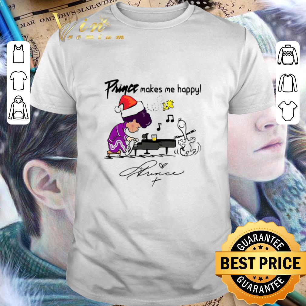 Awesome Schroeder Prince makes me happy Snoopy Woodstock signature shirt