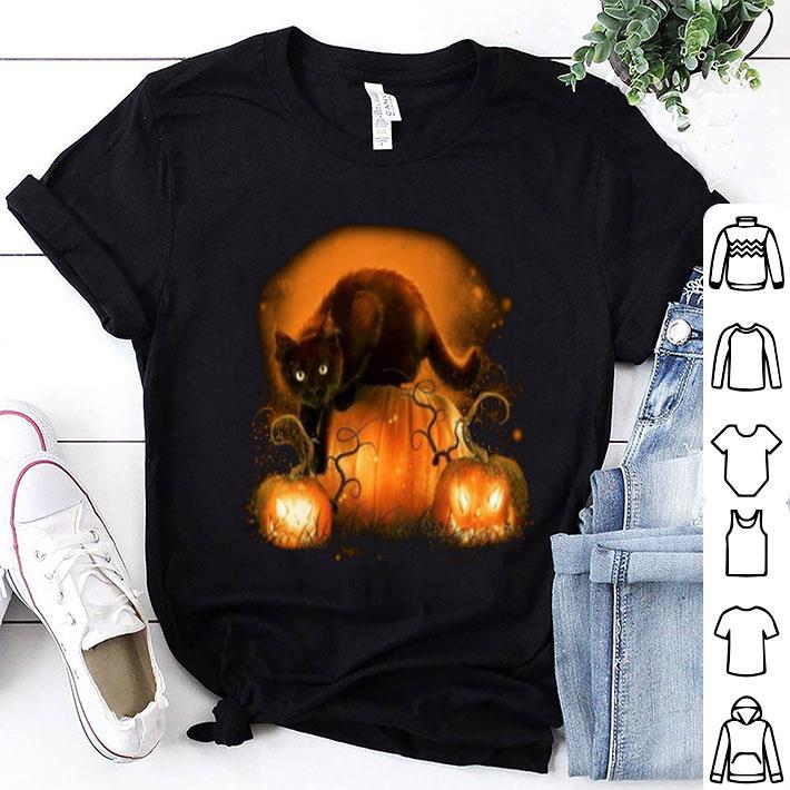 Black cat pumpkins halloween shirt