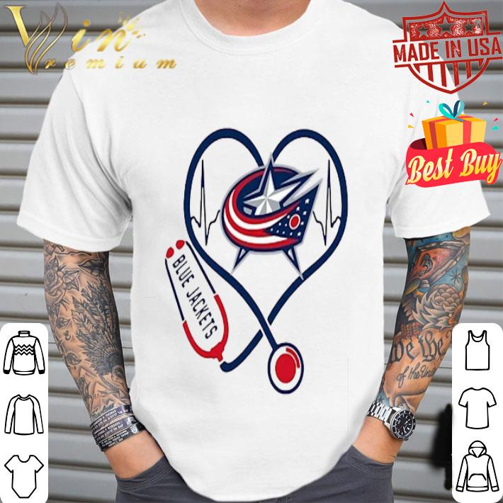 Blue Jackets heart Nurse stethoscope shirt