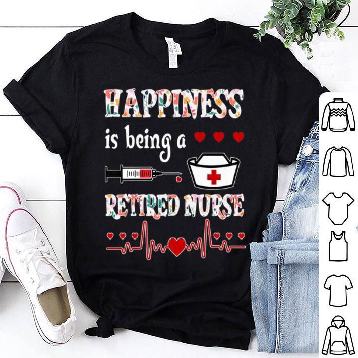 Happiness is being a retired nurse floral shirt