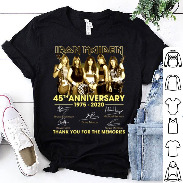 Iron Maiden 45th anniversary 1975-2020 signatures thank you for the memories shirt