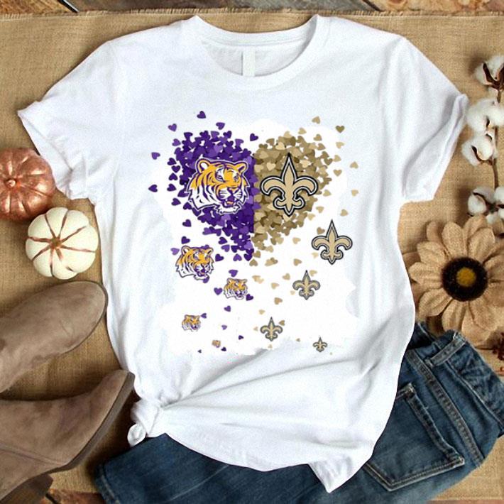 Love LSU Tigers New Orleans Saints Tiny Hearts Shape shirt