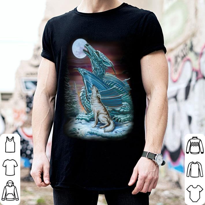 Moon dragon and wolf shirt