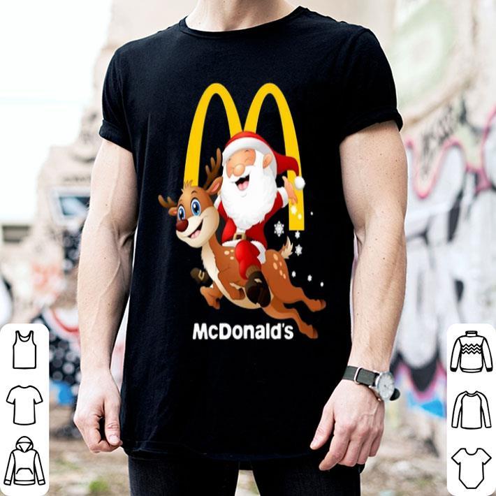Santa Claus riding reindeer McDonald's shirt