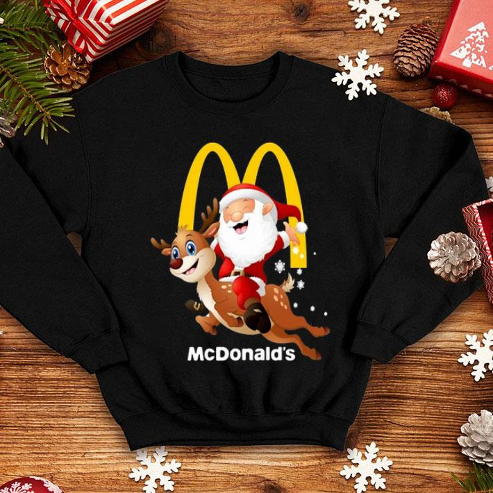 Santa Claus riding reindeer McDonald's shirt