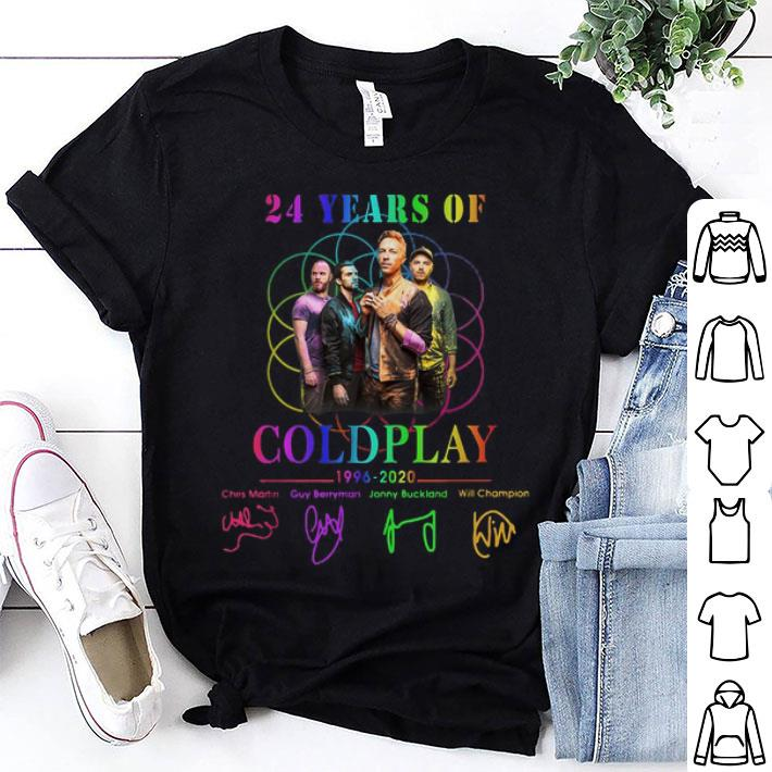 24 years of Coldplay 1996-2020 signatures shirt