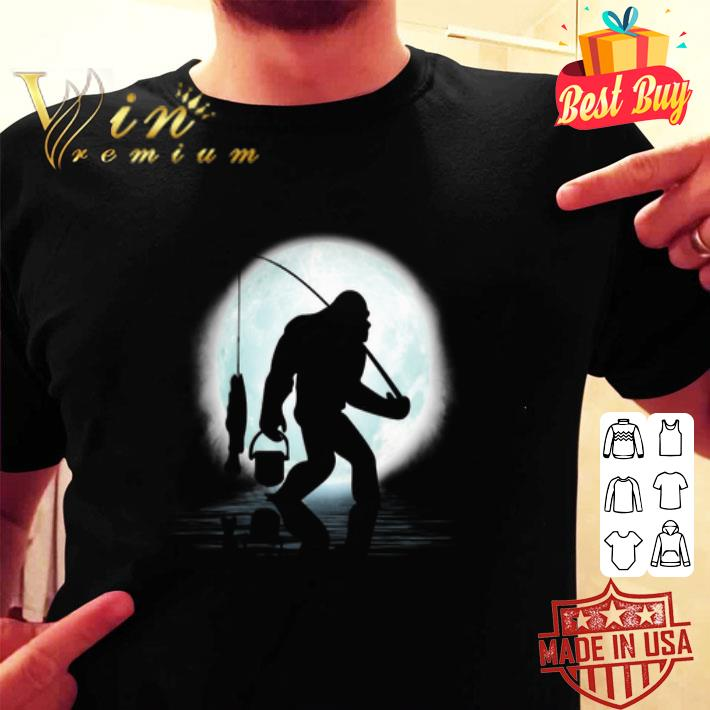 Bigfoot go fishing and moon shirt