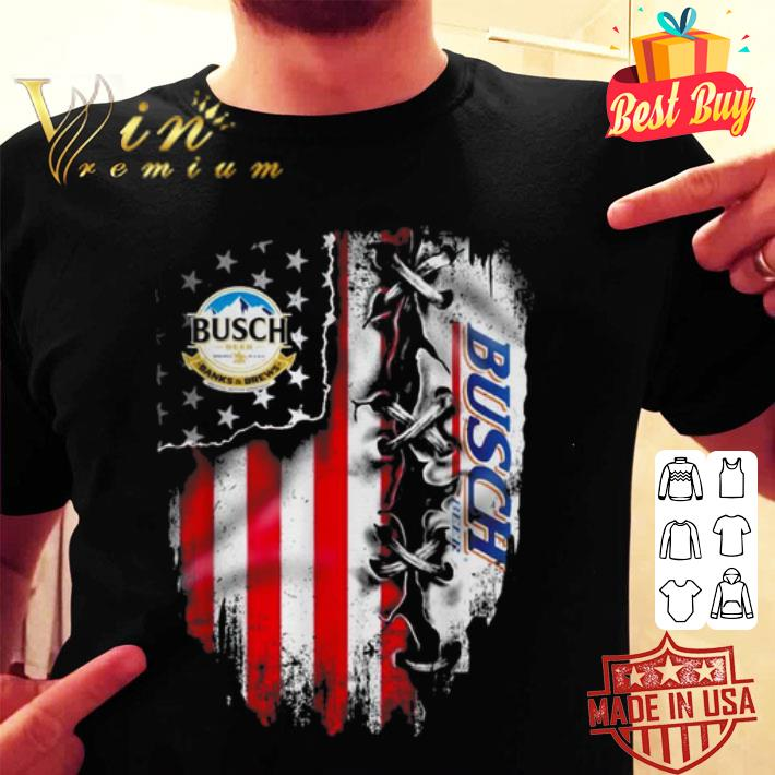 Busch Light inside American flag shirt