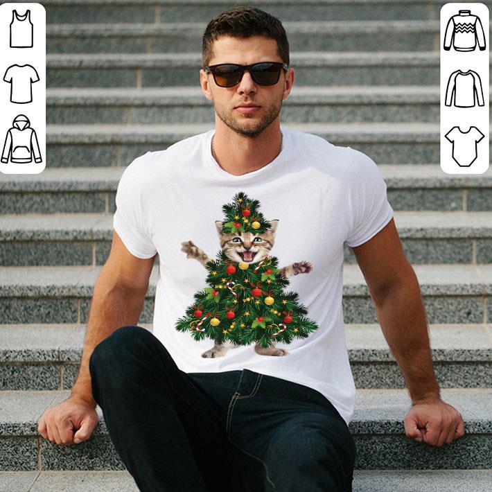 Cat pine Christmas tree shirt